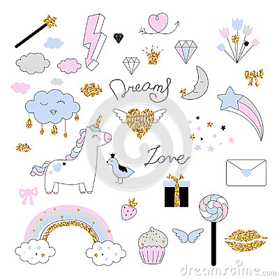 Free Magic Design Set With Unicorn, Rainbow, Hearts, Clouds And Others Elements. Stock Photo - 95081890