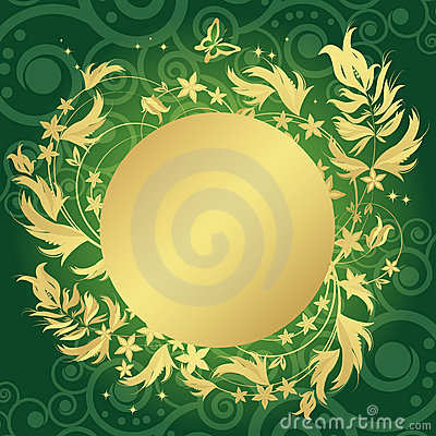 Magic floral background with golden curles.