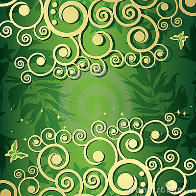 Magic floral background with golden curles