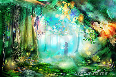 The magic forest with fairies