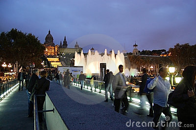 Magic fountain of Barcelona Editorial Stock Photo