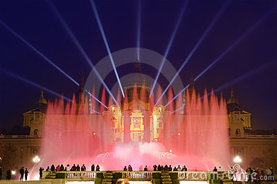 Magic Fountain By Night In Barcelona, Spain