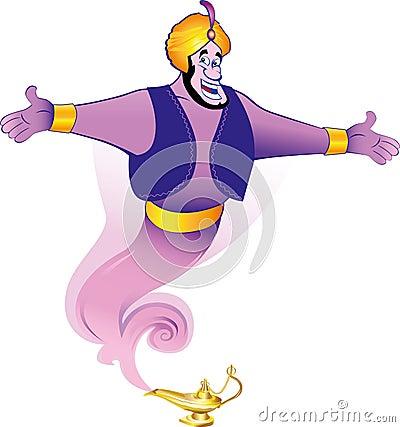 Magic Genie Granting The Wish Royalty Free Stock