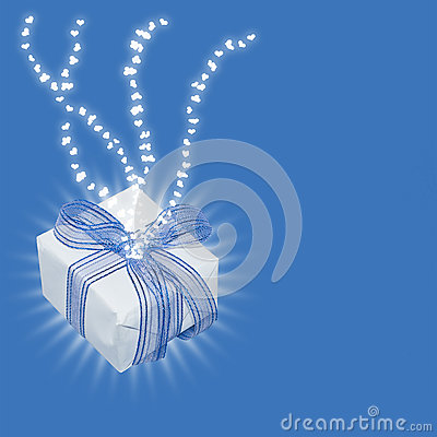 Magic gift with light rays and heart trails