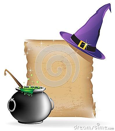 Magic hat and cauldron