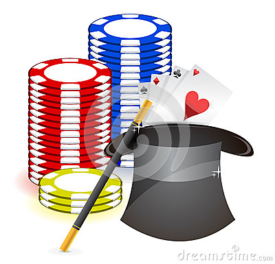 Magic hat , magic wand and casino props