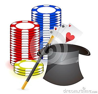 Magic hat , magic wand and casino props