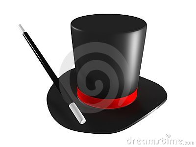 Magic hat and magic wand isolated on white backgro