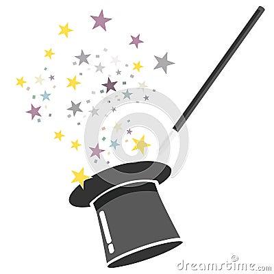 Magic hat and wand vector