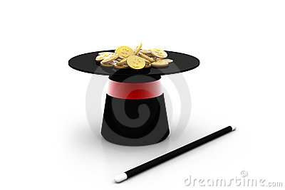 Magic hat and wand with dollar coin