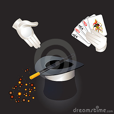 Magic hat, wand and hands