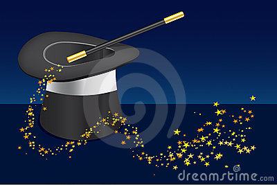 Magic hat, wand and stars-vector file added