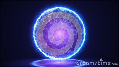 Magic lamp closeup. Energy inside the sphere.3D illustration Stock Photo