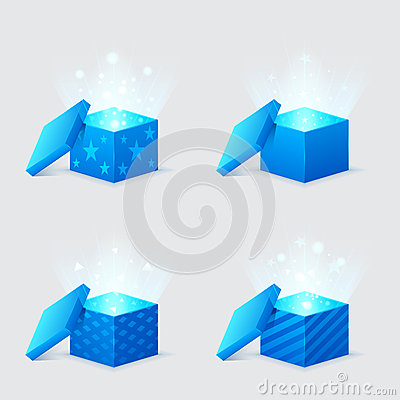 Magic light comes from blue gift boxes