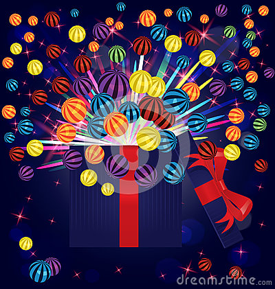 Magic light gift box balls vector