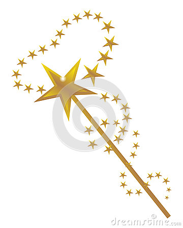 Vector illustration of a magic wand with golden stars design on a