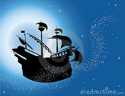 Magic sailing vessel silhouette in night sky