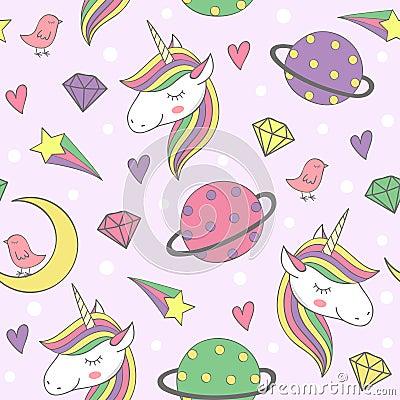 Free Magic Seamless Pattern With Unicorn And Planets Stock Photo - 115642150