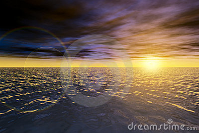 Magic seascape. Ocean sunset.