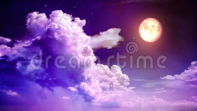 Magic sky. Magenta magic sky with time lapse clouds and moon stock video