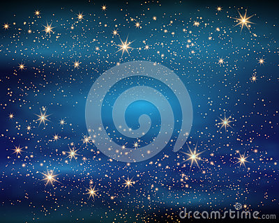 Magic Space. Fairy Dust. Infinity. Abstract Universe Background. Blue Gog and Shining Stars. Vector illustration Vector Illustration