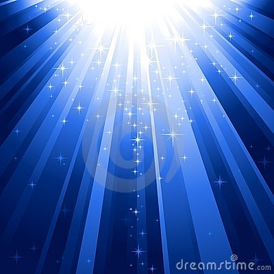 Free Magic Stars Descending On Beams Of Light Royalty Free Stock Images - 10718059