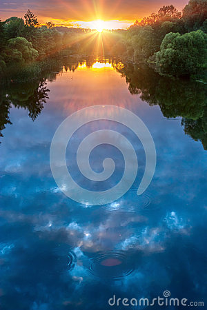 Free Magic Summer Sunset Over River Royalty Free Stock Image - 96935256