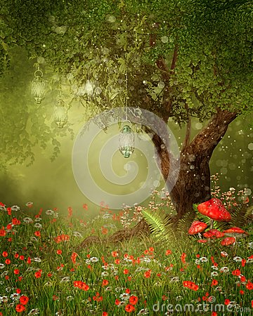 Free Magic Tree With Lanterns Royalty Free Stock Photos - 31975488