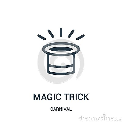 magic trick icon vector from carnival collection. Thin line magic trick outline icon vector illustration Vector Illustration