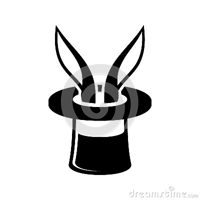 Magic Trick Rabbit In Wizard Hat Icon. Vector Stock Vector ...