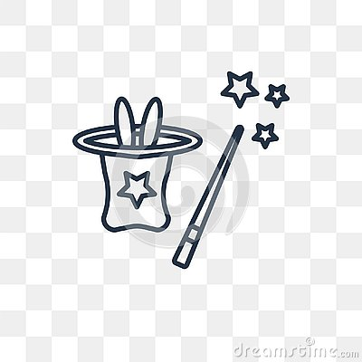 Magic trick vector icon isolated on transparent background, line Vector Illustration