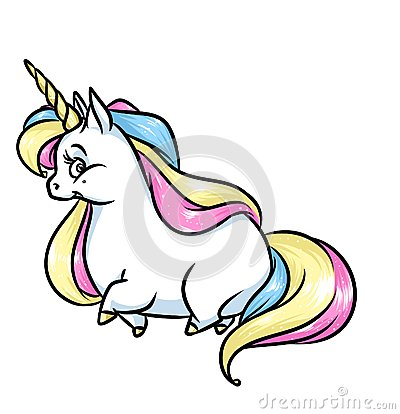 Magic Unicorn Rainbow Mane Cartoon Illustration Stock