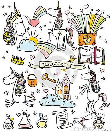 Free Magic Unicorn Set Royalty Free Stock Image - 76550316