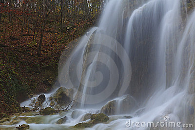 Magic waterfalls in the mountains in november