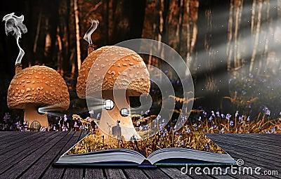 Magical book contents spilling into landscape