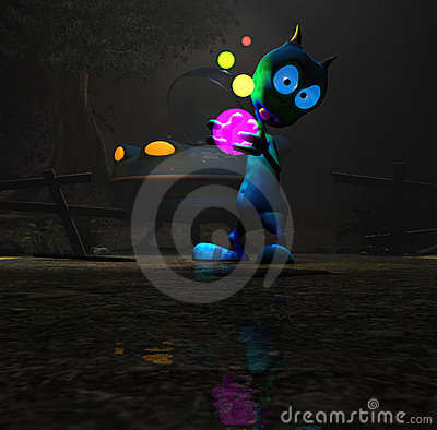 Magical cartoon alien character