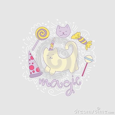 Magical cat vector cartoon fun illustration among curved lines and lollipops, sweets, pizza. Unicorn cat with horn and Vector Illustration