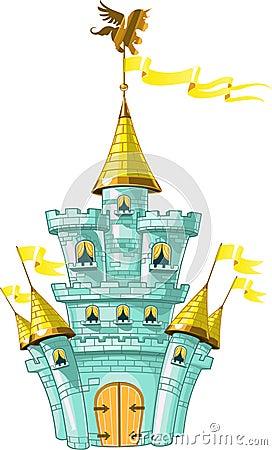 Free Magical Fairytale Blue Castle With Flags Stock Photos - 21946753