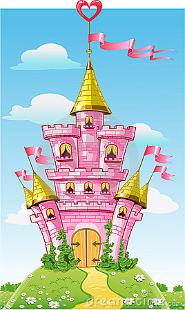 Magical fairytale pink castle with flag