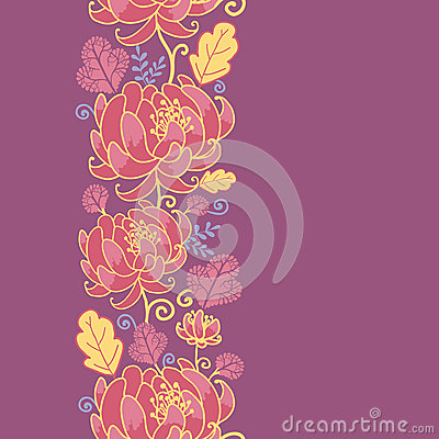 Magical flowers vertical seamless pattern