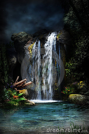 Magical forest waterfall-2