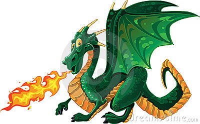 Magical green fire-spitting dragon