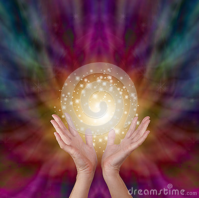 Free Magical Healing Energy On Radiating Color Background Royalty Free Stock Image - 54412586