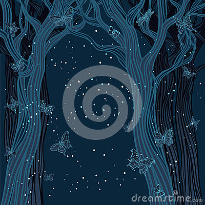 Free Magical Night Background With Trees Stock Photos - 27188273