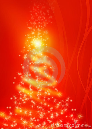 Magical red Christmas tree