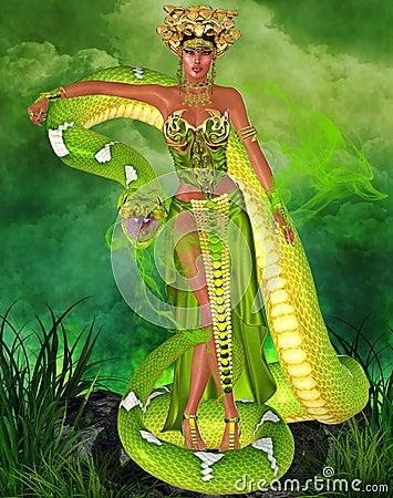 Free Magical Snake Goddess In Green Stock Photos - 35311053