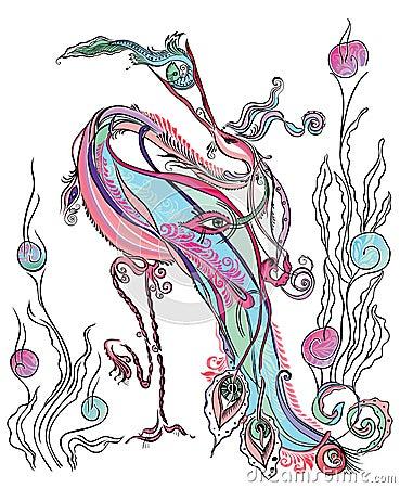 Magical stork, swallow fish.