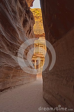 Magical sunrise at the Treasury. Petra, Jordan