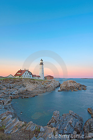 Magical sunset at the iconic Portland Head Light.