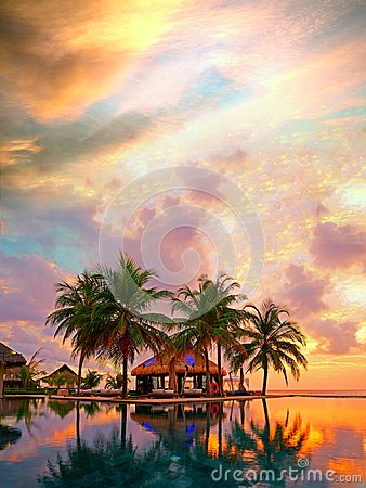 Free Magical Sunset, Maldives Resort Royalty Free Stock Image - 103366806